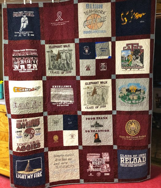 A&M t-shirts turned into a t-shirt quilt by The Quilt Rambler