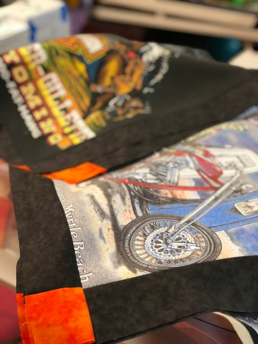 Harley Davidson T-shirts to make a quilt by The Quilt Rambler