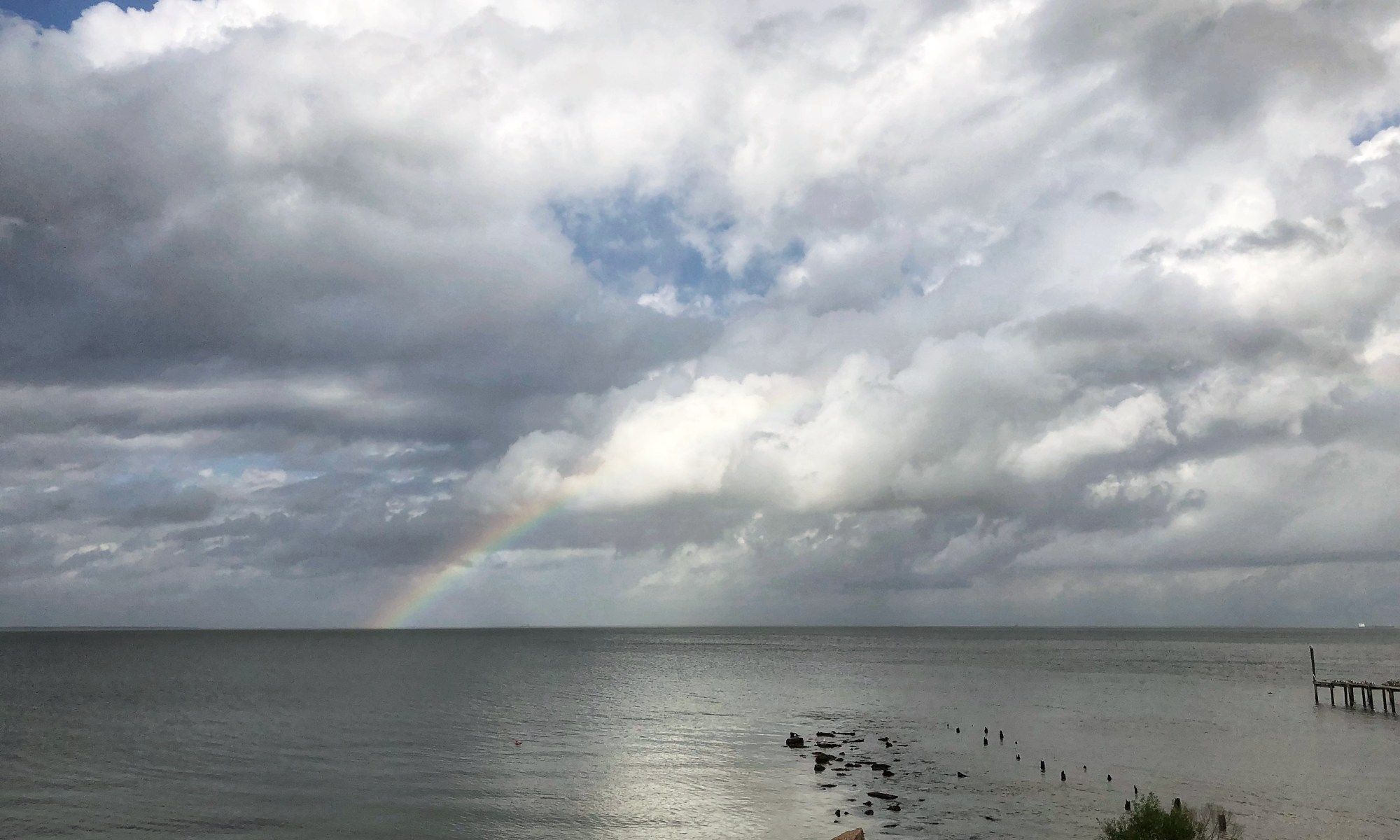 Rainbow over Galveston Bay, Bacliff TX Photo by The Quilt Rambler