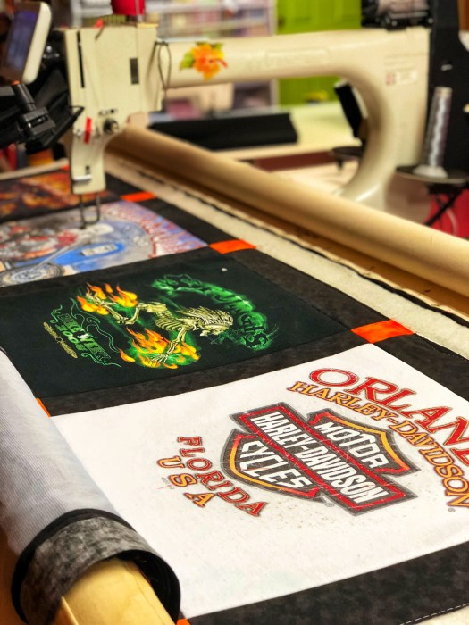 Harley Davidson t-shirts make a great t-shirt quilt pieced and quilted by The Quilt Rambler