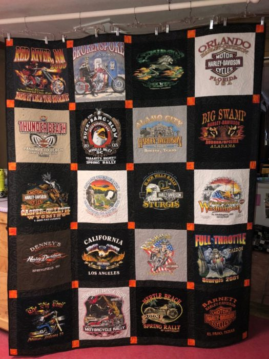 T-shirt quilt made by The Quilt Rambler from a collection of Harley Davidson shirts