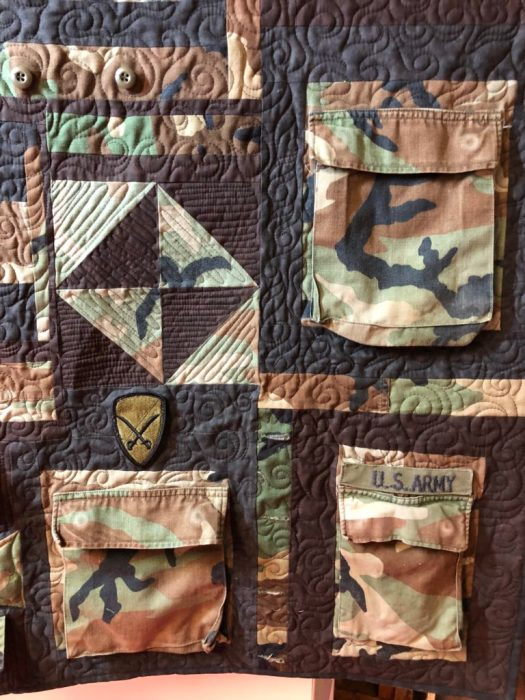 Quilting a military quilt