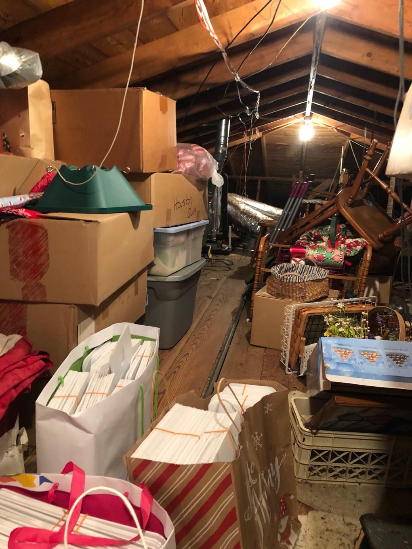 A messy attic