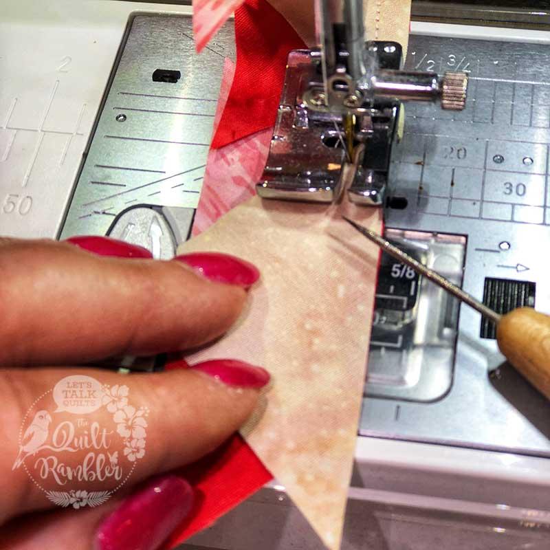 pretty in pink finger nails sewing pink batik fabrics
