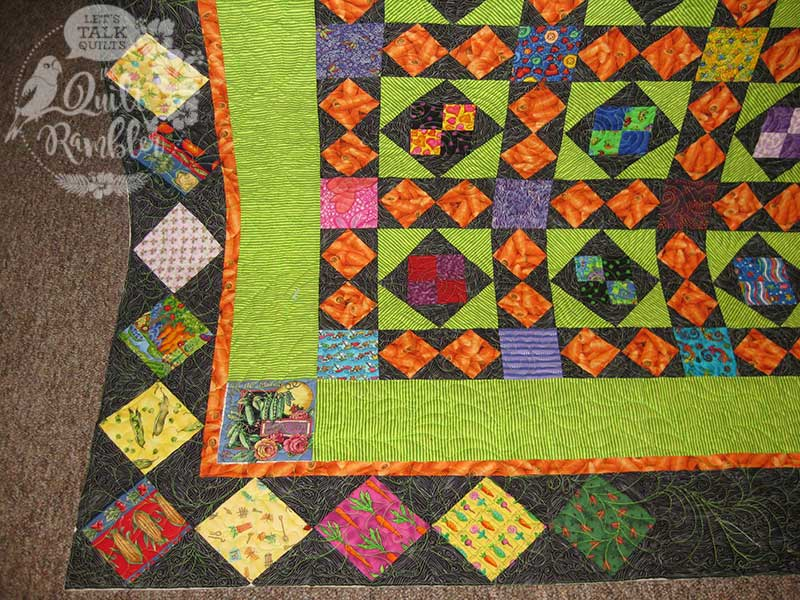 My Dangling Carrot quilt includes other veggie blocks