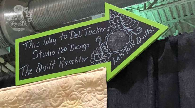 Advertising The Quilt Rambler booth at a Quilt Show