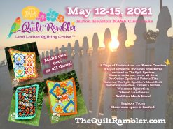 Advertisement for May 2021 Land Locked Quilting Cruise by The Quilt Rambler