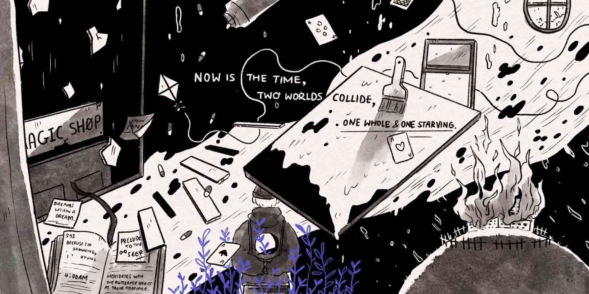 A black and white hand-drawn illustration showing a chaotic scene that combine images of objects like books, paintings, cards, and fire.