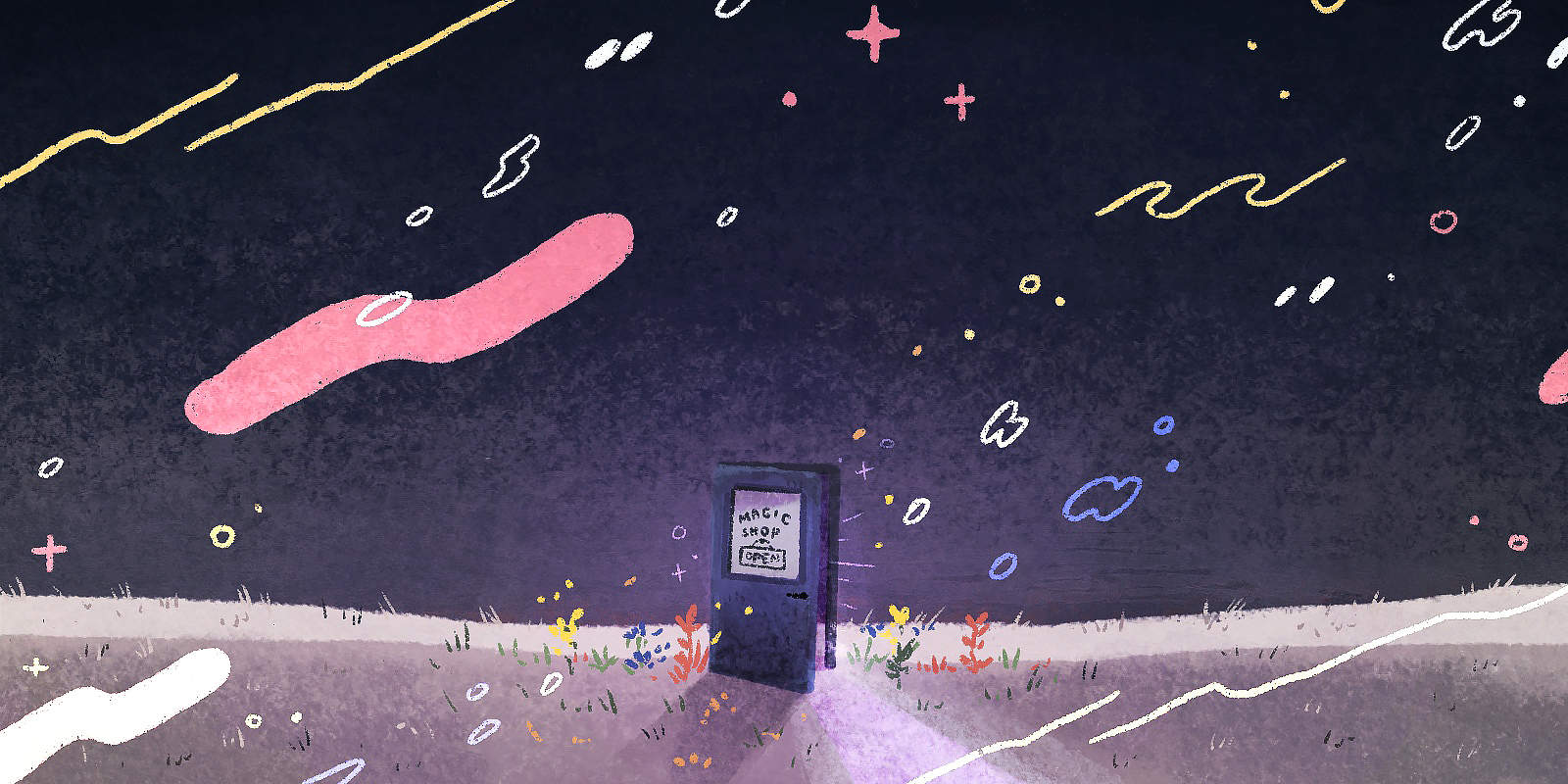 A purple door to the Magic Shop sits cracked open in a moonlit field of flowers