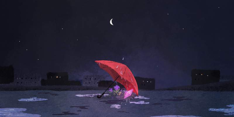 A red umbrella protects a purple crystal and flowers from the rain beneath a nightscape