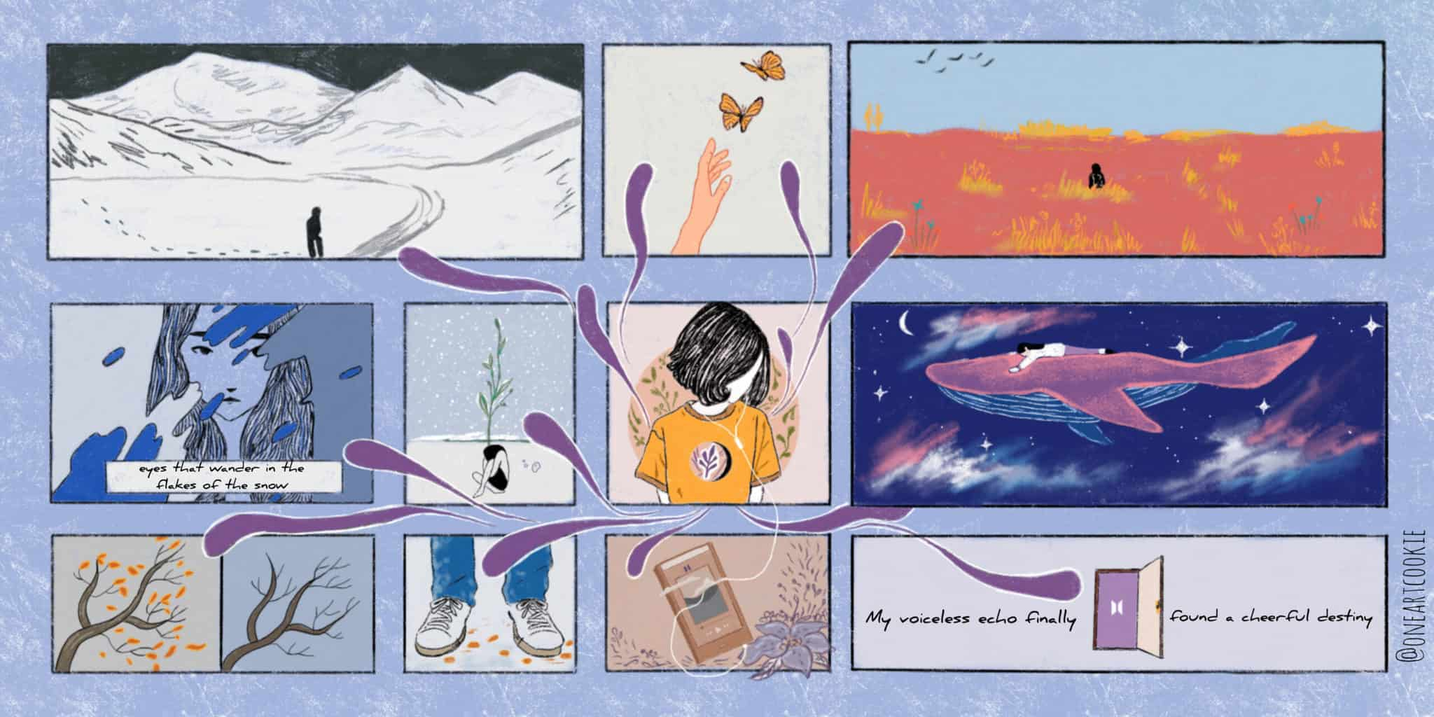 A collage of images ranging from a lonely figure wandering in the snow and a girl resting on the back of a purple whale