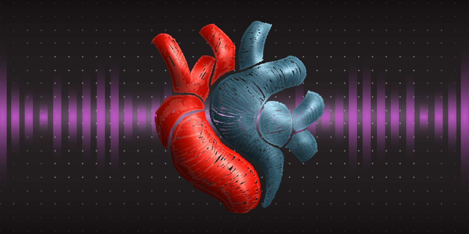 A heart that is half tissue, half metal, beats with a purple pulse