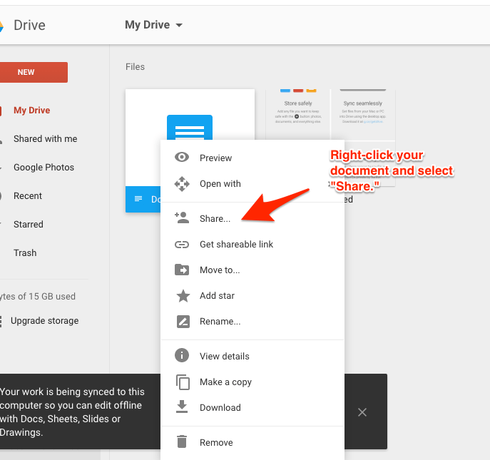 How to Share Documents Google Drive 1