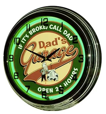 dad's garage neon clock from classic neon clocks vintage gas station clocks