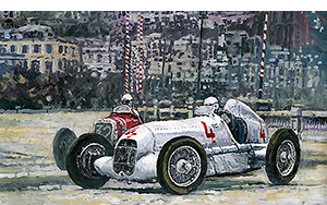 1935 Monaco GP Mercedes-Benz W25 #4 L. Fagioli winner motorsport art by yuriy shevchuk