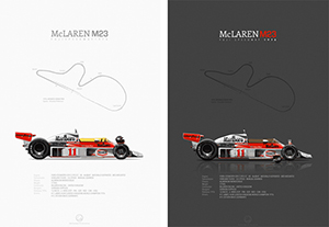 McLaren-Ford M23 Fuji 1976 before & after race, poster art by last corner