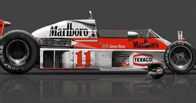 McLaren M23 after race, poster art by Last Corner