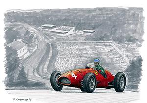 Ascari–Ferrari Spa 1952 motorsport art by Paul Chenard