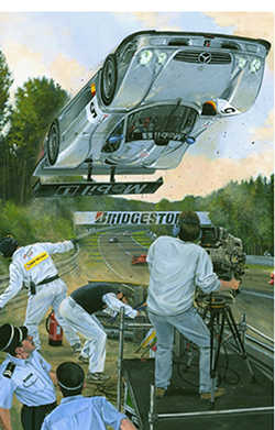 """silver aero"" motorsport art by roger warrick"