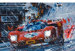 a thorough soaking-- motorsport art by john ketchell