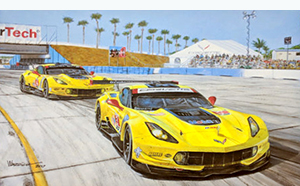 Corvettes Corralled corvette racing art by Roger Warrick