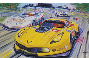 corvette at sebring corvette racing art by Roger Warrick