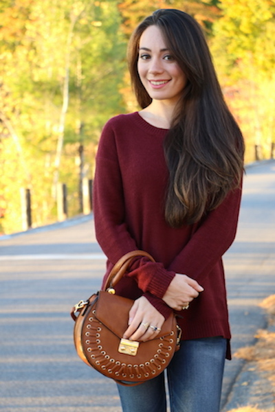 burgundy sweater, sophisticated, leather handbag, jeans, american eagle outfitters, brunette, fall, 2017, 2016, new hampshire, sophistication, class, style, boston, boston blogger