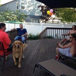the menfolk relaxing having a cigar after a long day haha, oh and Buddy.