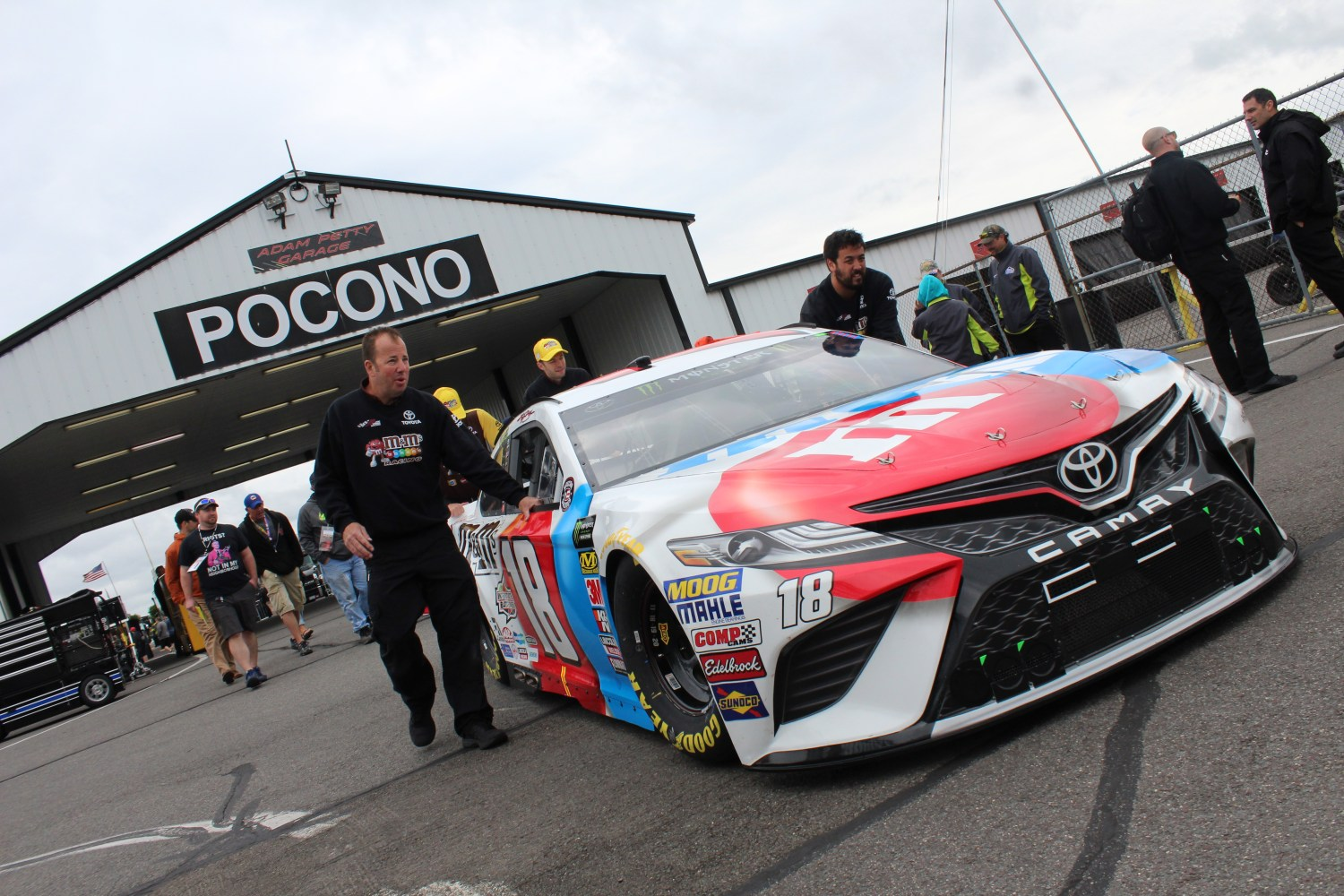 The No. 18 Toyota is rolled out of the garage ahead of the 2018 Pocono 400. (Tyler Head | The Racing Experts)