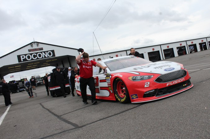 The No. 2 Ford is rolled out of the garage ahead of the 2018 Pocono 400. (Tyler Head | The Racing Experts)