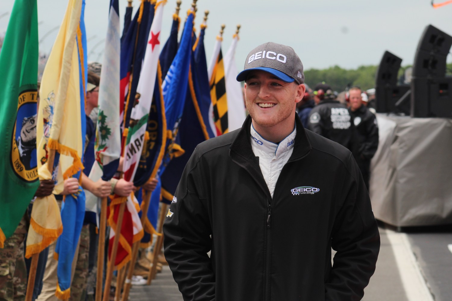 Ty Dillon walks during driver introductions for the 2018 Pocono 400. (Tyler Head | The Racing Experts)