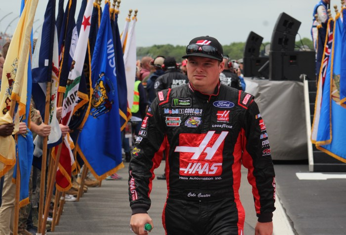 Cole Custer walks during driver introductions for the 2018 Pocono 400. (Tyler Head | The Racing Experts)