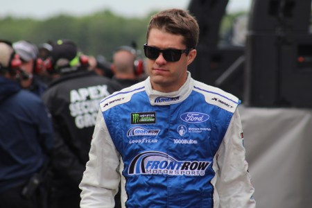 David Ragan walks during driver introductions for the 2018 Pocono 400. (Tyler Head | The Racing Experts)
