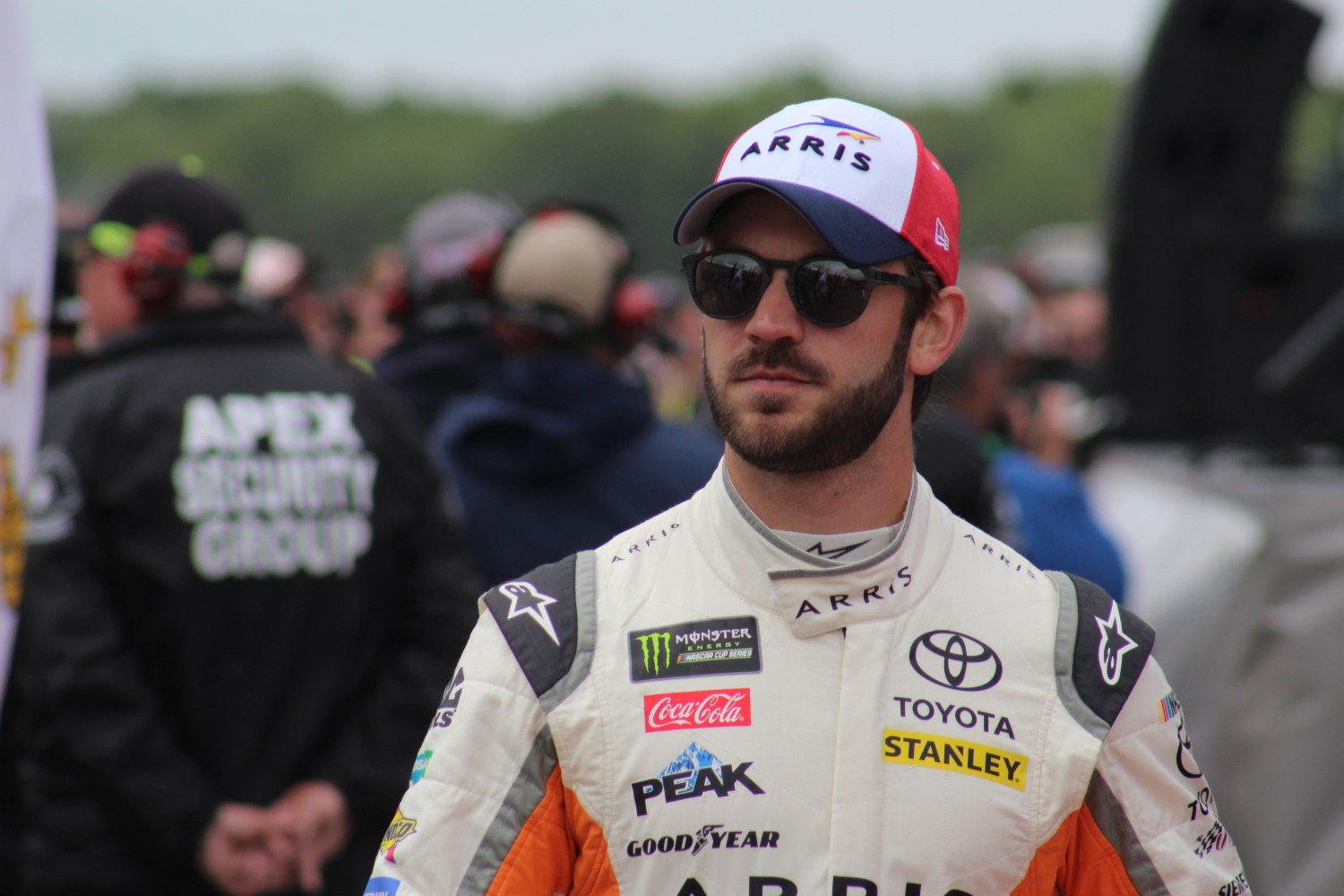 Daniel Suarez walks during driver introductions for the 2018 Pocono 400. (Tyler Head   The Racing Experts)