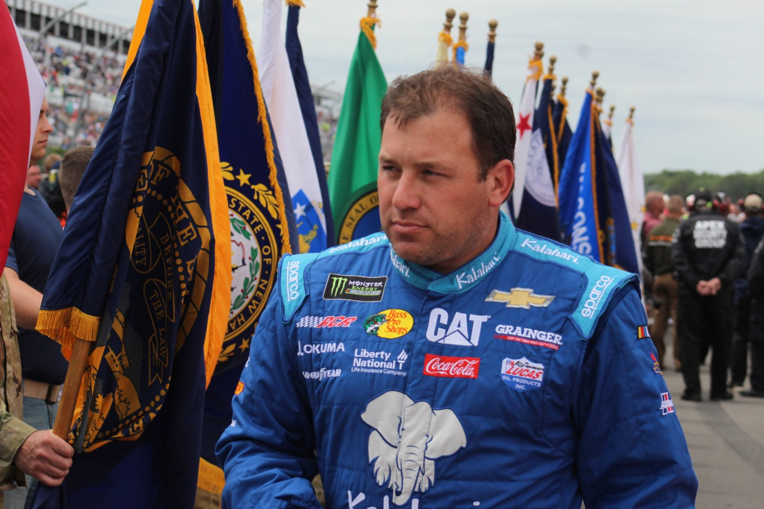 Ryan Newman walks during driver introductions for the 2018 Pocono 400. (Tyler Head   The Racing Experts)