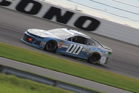 Landon Cassill races during the 2018 Pocono 400. (Tyler Head | The Racing Experts)