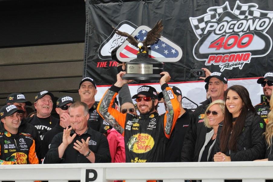 Martin Truex Jr. celebrates his Pocono 400 victory. (Tyler Head | The Racing Experts)