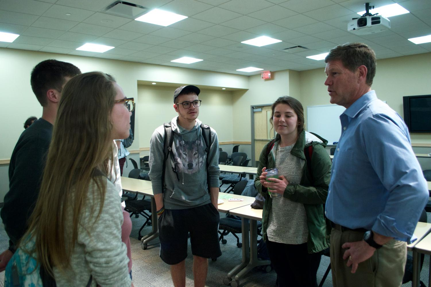Congressman Ron Kind talking with UWL students at the event on April 25. Photo by Carly Rundle-Borchert.