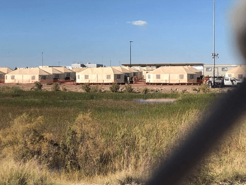 Tornillo, tents on the east side of the prison. Picture credit: K.C. Cayo