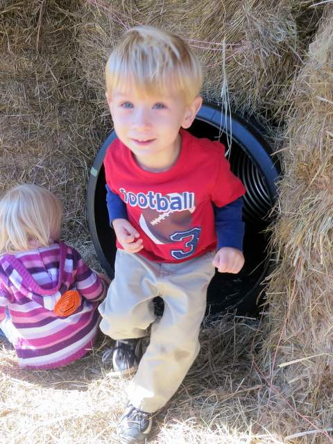 Through the hay stack!