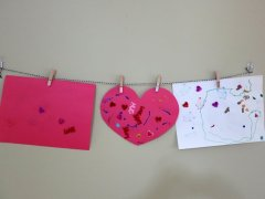 Connor made these valentine's with just a little help from a friend. (Mommy cut the heart shape.)