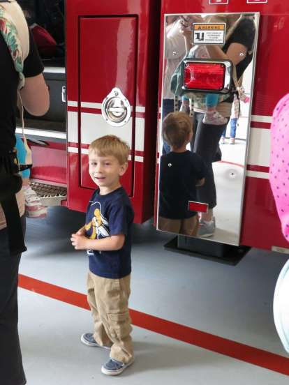 Waiting patiently for my chance in the fire truck!