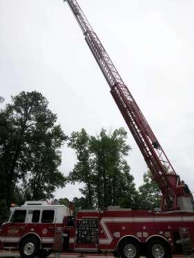 Ladder truck in action.
