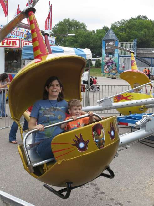 Mommy and I in the Iron Man helicopter.