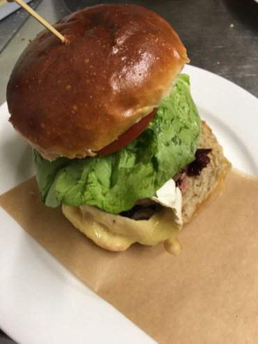 The Railway Ringwood-Somerset Brie and New Forest Bacon burger