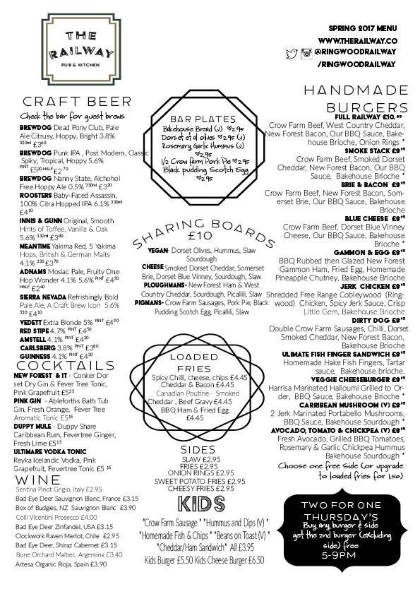 The Railway Craft Beer Pub Menu Ringwood New Forest