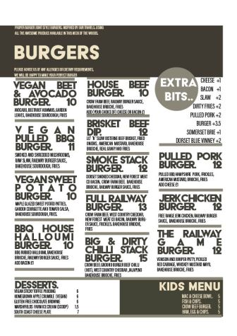 The Railway Craft pub and Kitchen Burger Menu