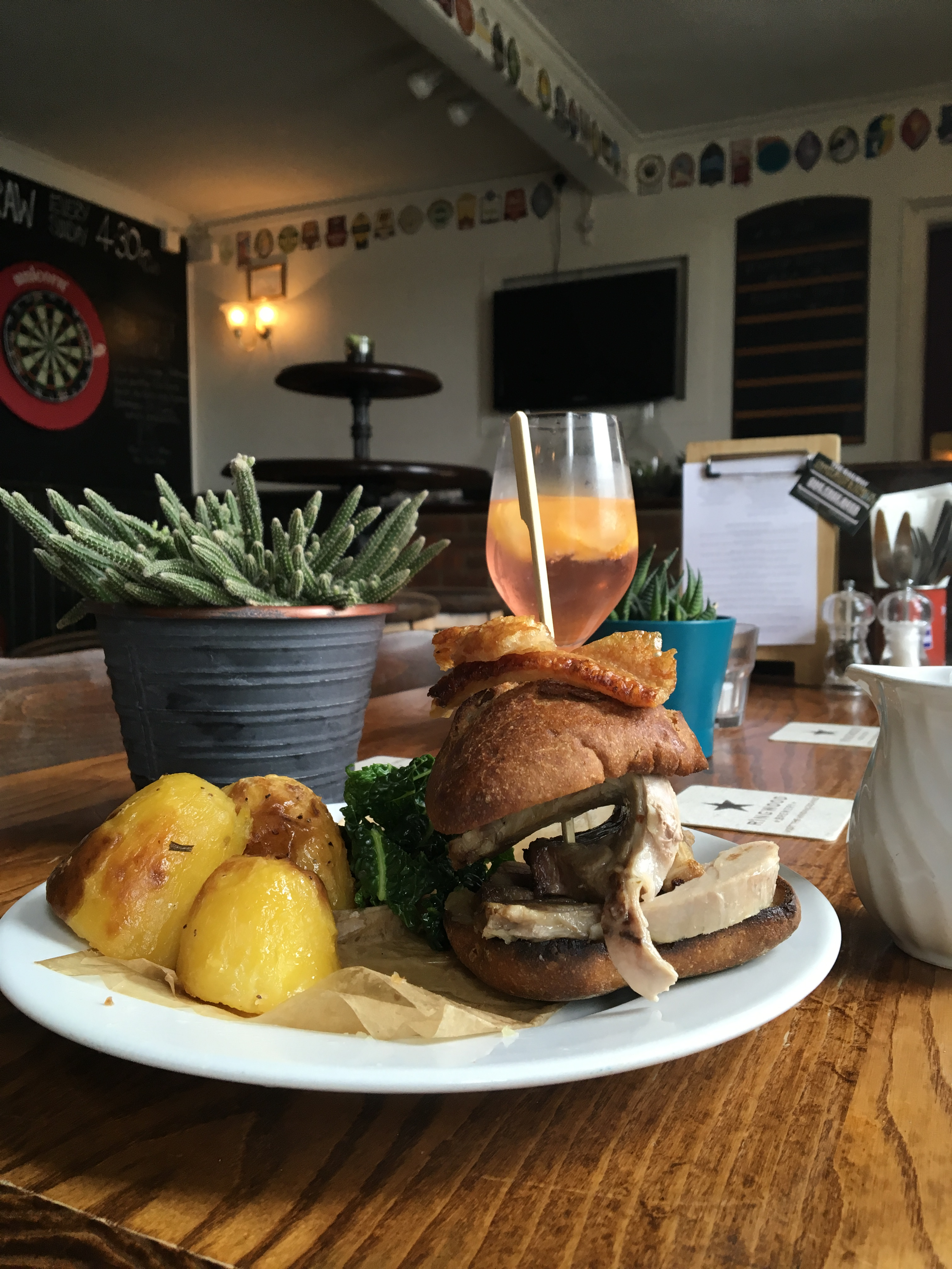 Roast Dinner Burger, Railway Crfat beer Pub and Kitchen Ringwood New Forest