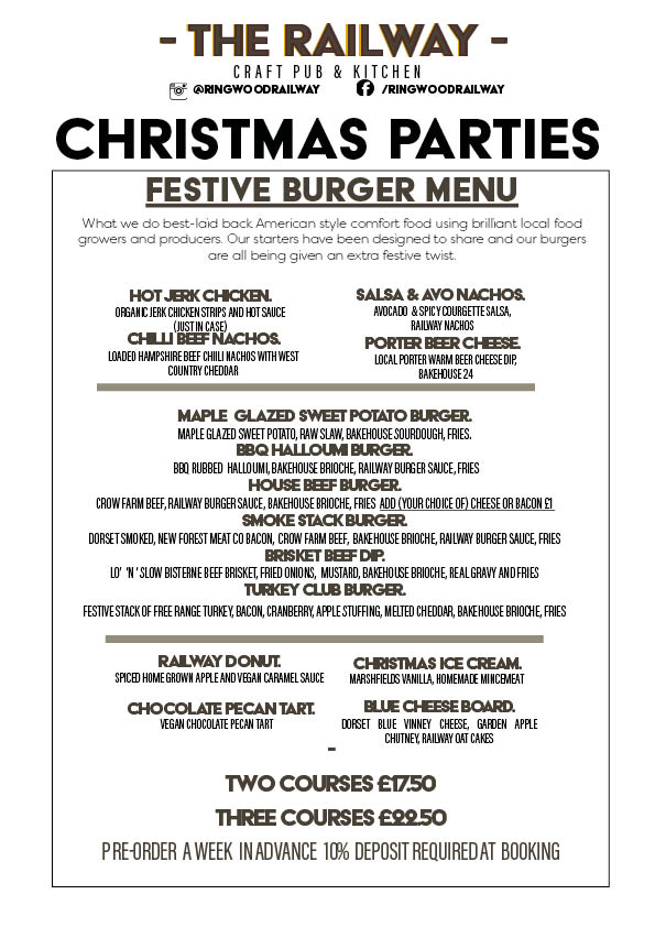 Burger Joint Vegan Friendly Christmas Party Menu Ringwood