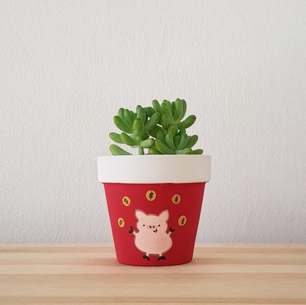 Prosperous Pig Pot with Succulent